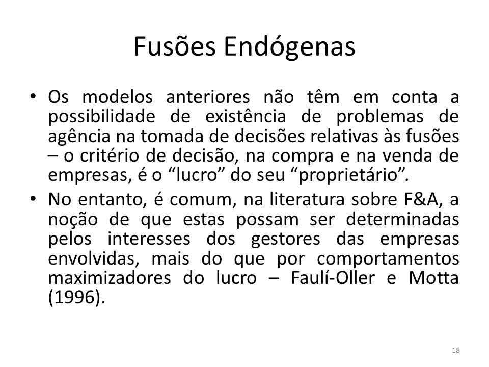 Fusões Endógenas Os modelos anteriores não têm em conta a possibilidade de existência de problemas de agência na tomada de decisões relativas às fusõe