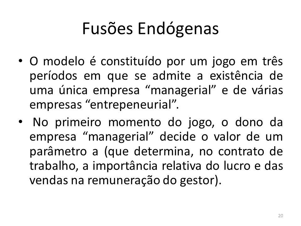 Fusões Endógenas O modelo é constituído por um jogo em três períodos em que se admite a existência de uma única empresa managerial e de várias empresas entrepeneurial.