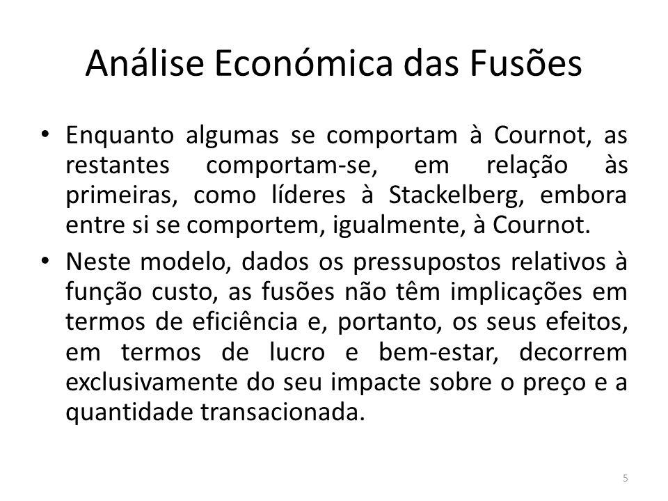 Análise Económica das Fusões Enquanto algumas se comportam à Cournot, as restantes comportam-se, em relação às primeiras, como líderes à Stackelberg, embora entre si se comportem, igualmente, à Cournot.