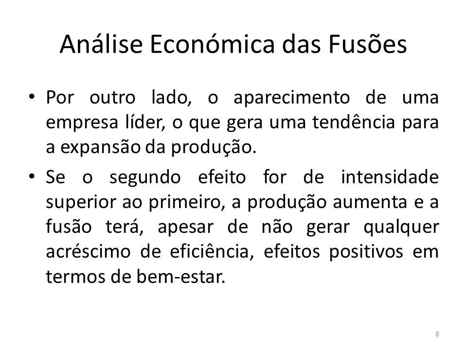 Análise Económica das Fusões Por outro lado, o aparecimento de uma empresa líder, o que gera uma tendência para a expansão da produção. Se o segundo e