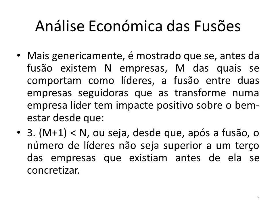 Análise Económica das Fusões Mais genericamente, é mostrado que se, antes da fusão existem N empresas, M das quais se comportam como líderes, a fusão
