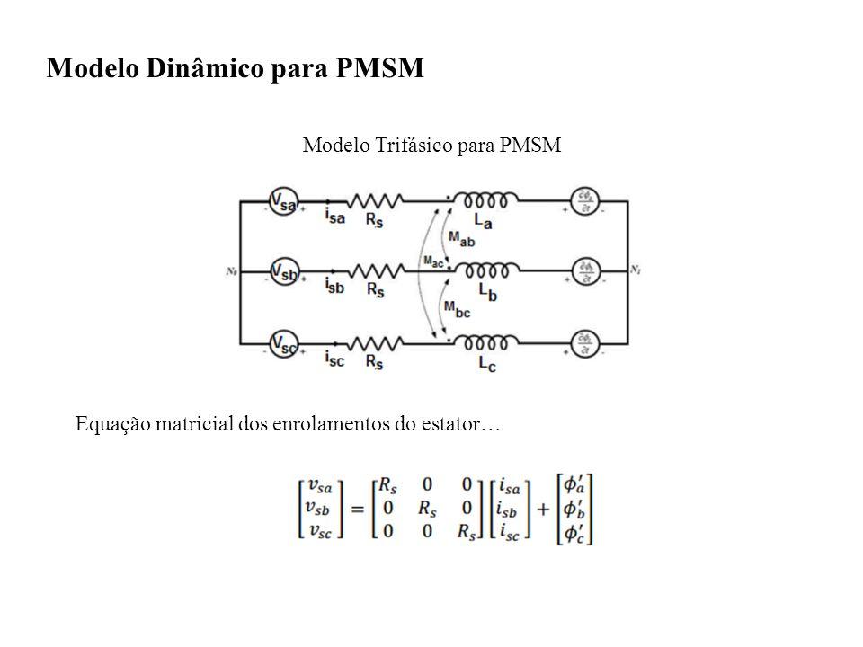 Modelo Dinâmico para PMSM Modelo Trifásico para PMSM Equação matricial dos enrolamentos do estator…