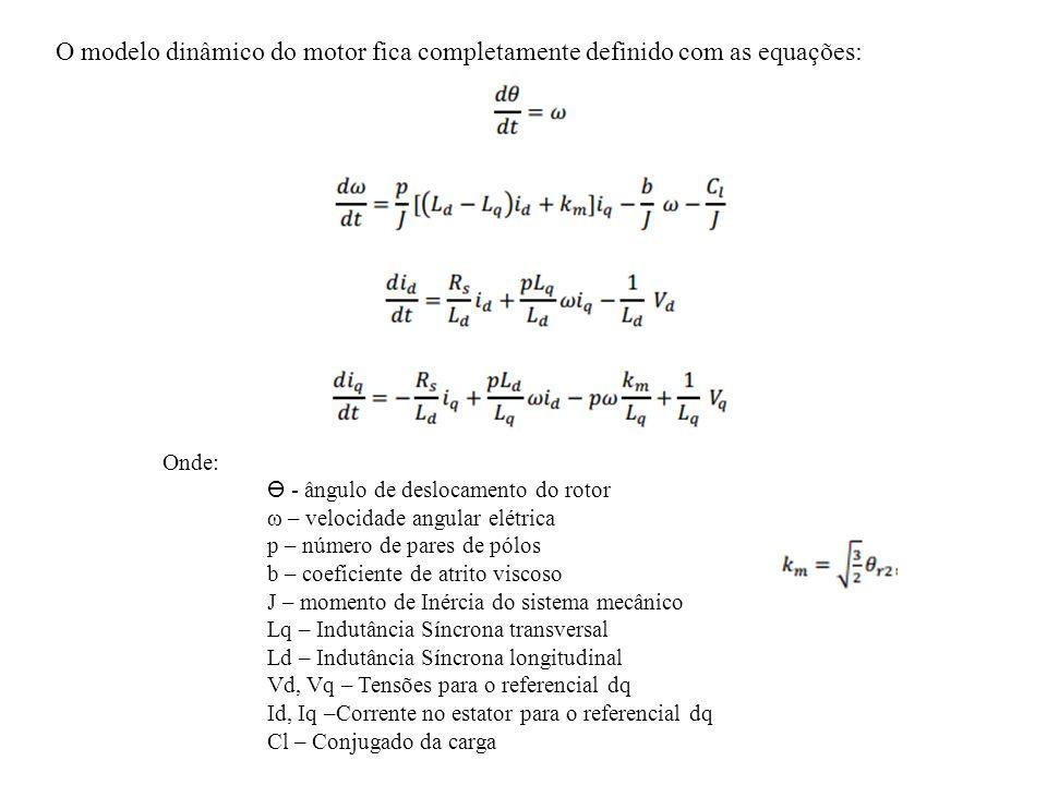 O modelo dinâmico do motor fica completamente definido com as equações: Onde: - ângulo de deslocamento do rotor ω – velocidade angular elétrica p – nú