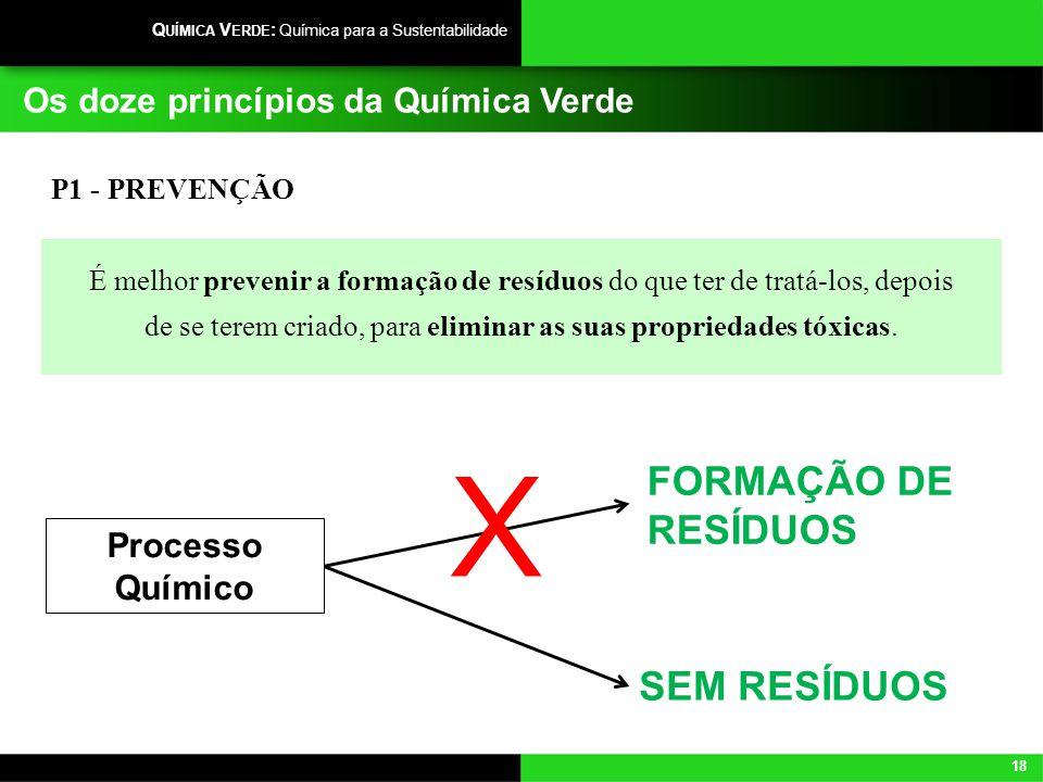 18 Q UÍMICA V ERDE : Química para a Sustentabilidade Os doze princípios da Química Verde P1 - PREVENÇÃO É melhor prevenir a formação de resíduos do qu
