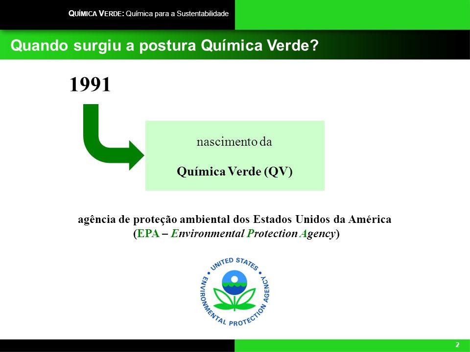 2 Q UÍMICA V ERDE : Química para a Sustentabilidade Quando surgiu a postura Química Verde? nascimento da Química Verde (QV) 1991 agência de proteção a