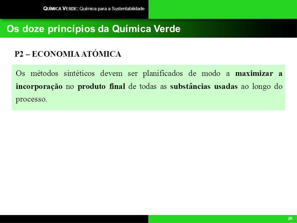 20 Q UÍMICA V ERDE : Química para a Sustentabilidade Os doze princípios da Química Verde P2 – ECONOMIA ATÓMICA Os métodos sintéticos devem ser planifi