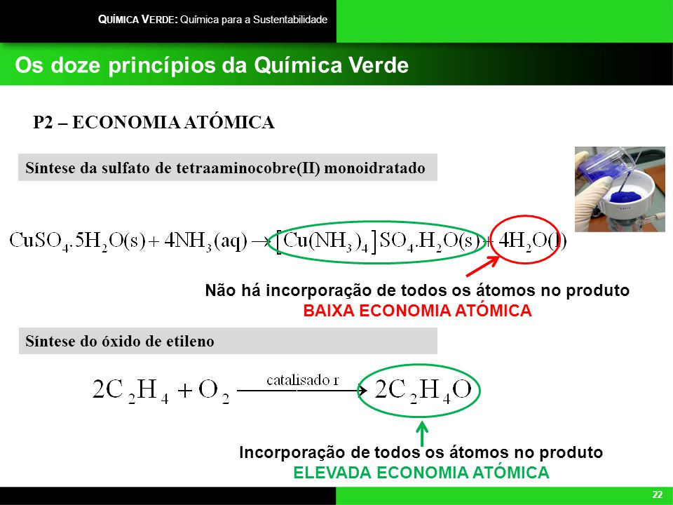 22 Q UÍMICA V ERDE : Química para a Sustentabilidade Os doze princípios da Química Verde P2 – ECONOMIA ATÓMICA Síntese do óxido de etileno Incorporaçã