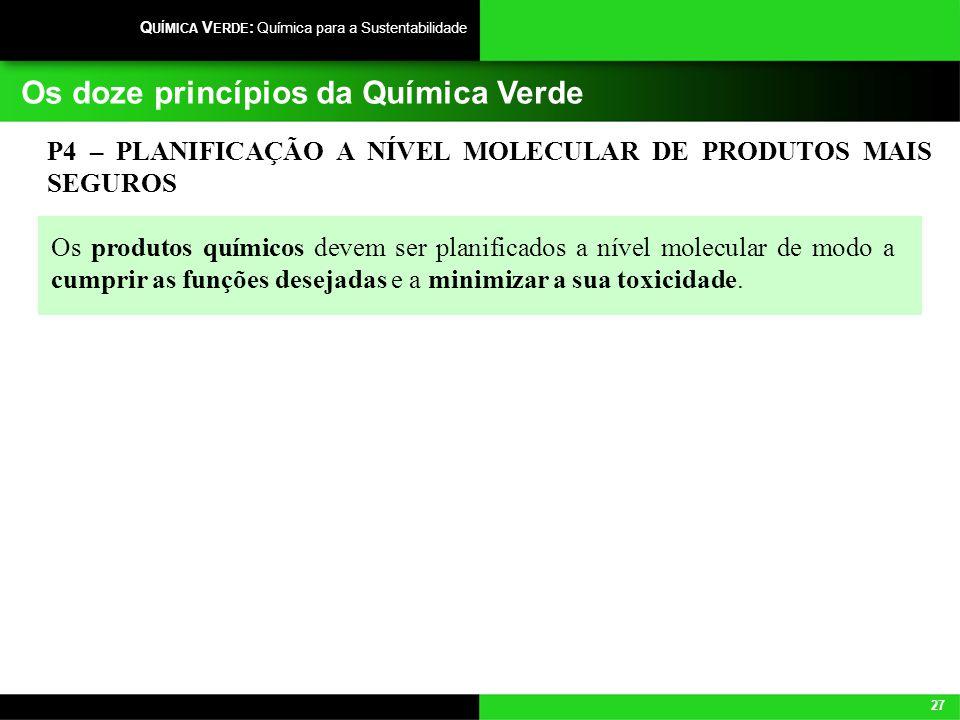 27 Q UÍMICA V ERDE : Química para a Sustentabilidade Os doze princípios da Química Verde P4 – PLANIFICAÇÃO A NÍVEL MOLECULAR DE PRODUTOS MAIS SEGUROS