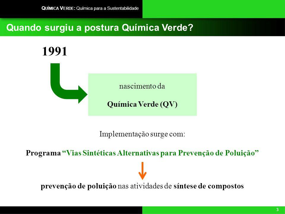 3 Q UÍMICA V ERDE : Química para a Sustentabilidade Quando surgiu a postura Química Verde? nascimento da Química Verde (QV) 1991 Implementação surge c