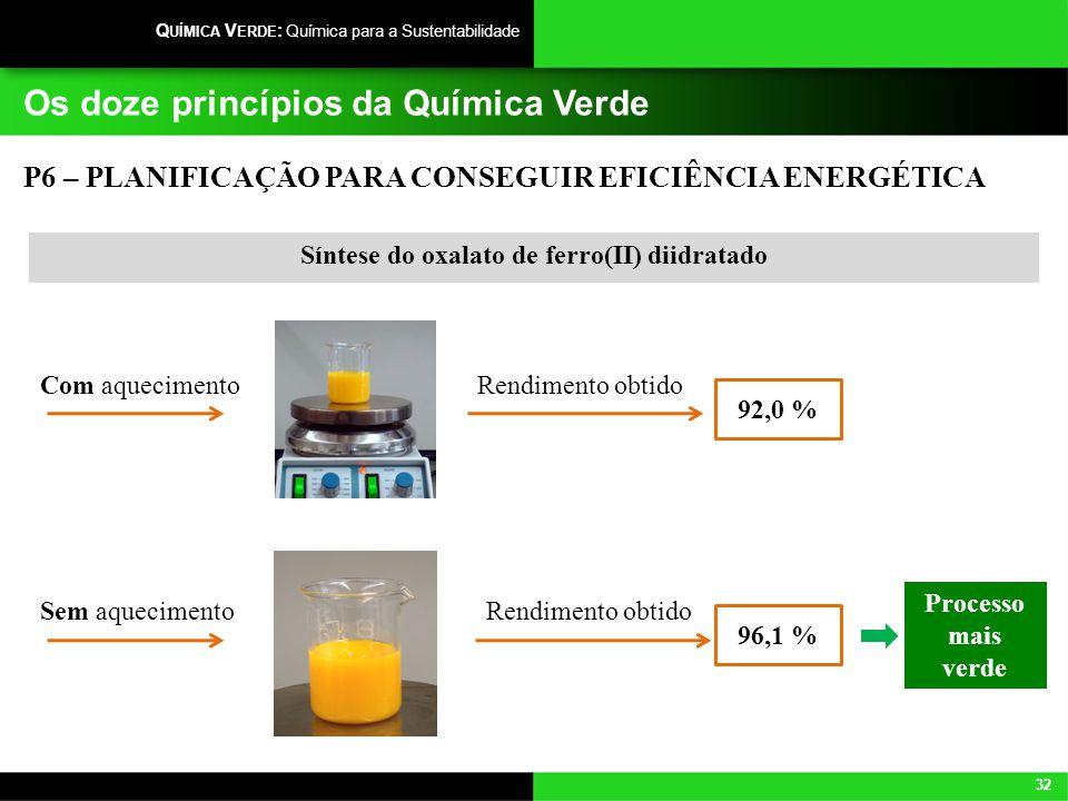 32 Q UÍMICA V ERDE : Química para a Sustentabilidade Os doze princípios da Química Verde P6 – PLANIFICAÇÃO PARA CONSEGUIR EFICIÊNCIA ENERGÉTICA Síntes