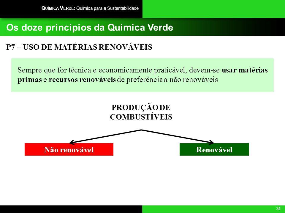 34 Q UÍMICA V ERDE : Química para a Sustentabilidade Os doze princípios da Química Verde Sempre que for técnica e economicamente praticável, devem-se