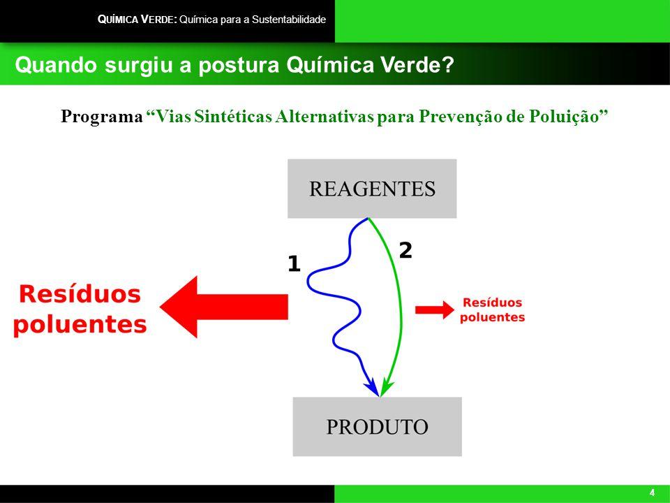 4 Q UÍMICA V ERDE : Química para a Sustentabilidade Quando surgiu a postura Química Verde? Programa Vias Sintéticas Alternativas para Prevenção de Pol