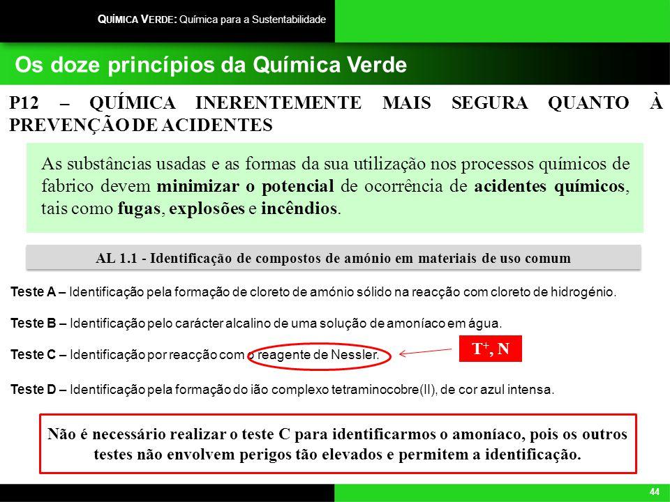 44 Q UÍMICA V ERDE : Química para a Sustentabilidade Os doze princípios da Química Verde As substâncias usadas e as formas da sua utilização nos proce