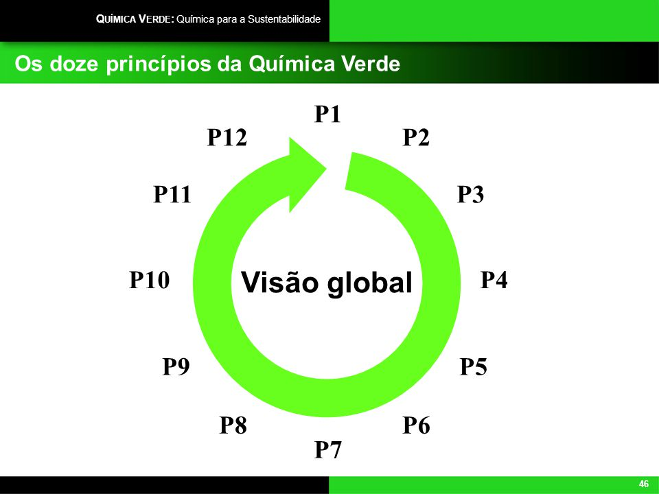 46 Q UÍMICA V ERDE : Química para a Sustentabilidade Os doze princípios da Química Verde P1 P3 P4 P5 P6 P2 P7 P11 P10 P9 P8 P12 Visão global