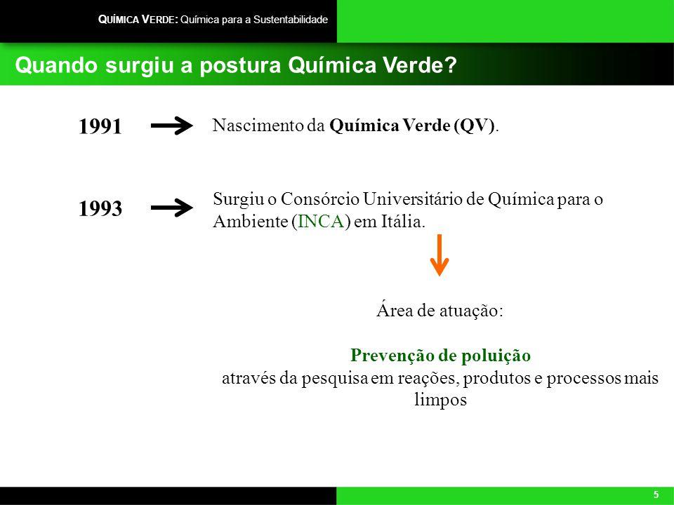 5 Q UÍMICA V ERDE : Química para a Sustentabilidade Quando surgiu a postura Química Verde? Nascimento da Química Verde (QV). 1991 Surgiu o Consórcio U