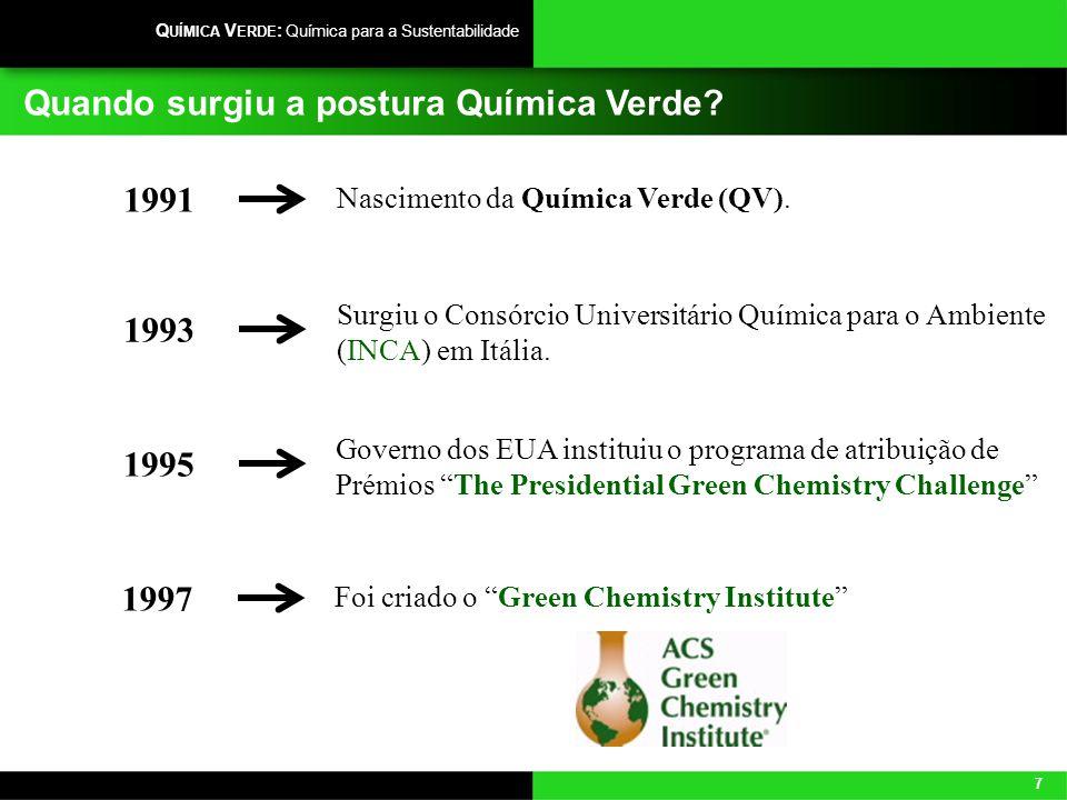 7 Q UÍMICA V ERDE : Química para a Sustentabilidade Quando surgiu a postura Química Verde? Nascimento da Química Verde (QV). 1991 Surgiu o Consórcio U