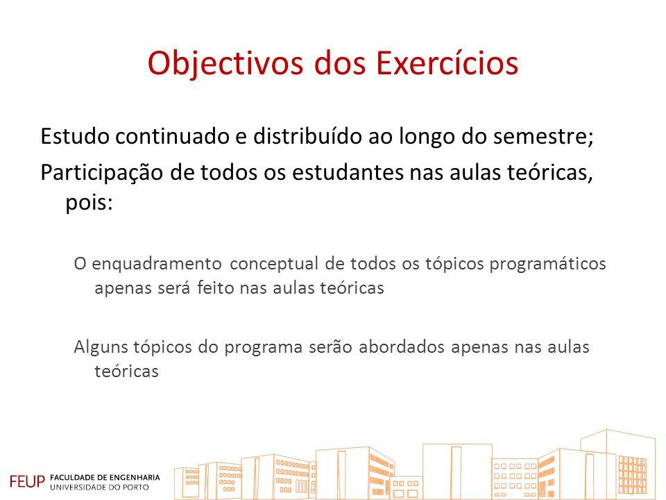 Objectivos dos Exercícios Estudo continuado e distribuído ao longo do semestre; Participação de todos os estudantes nas aulas teóricas, pois: O enquad