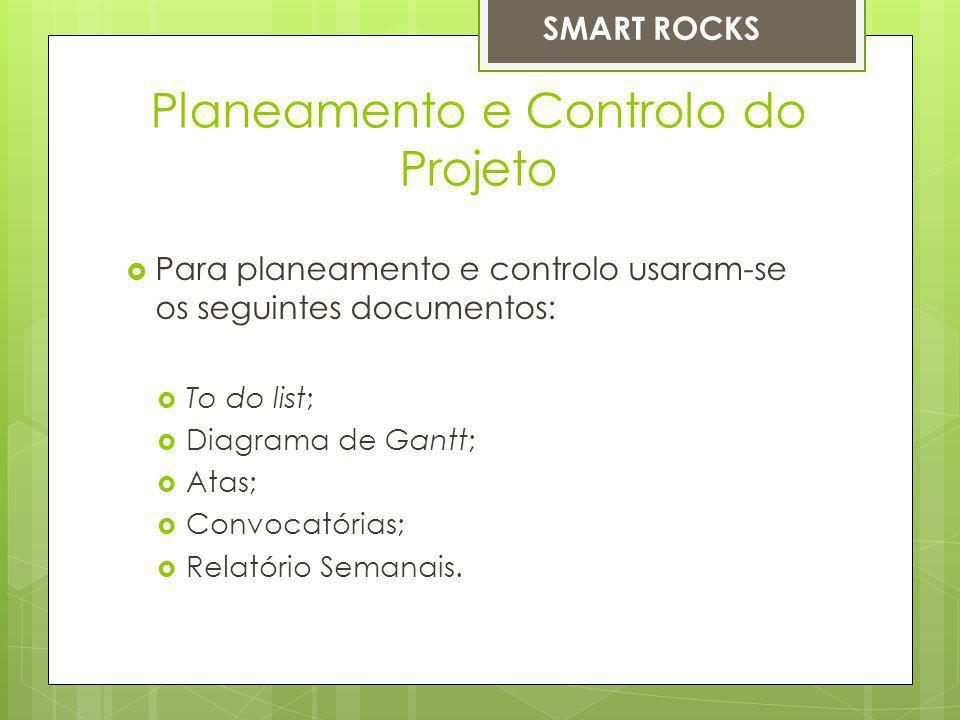 Planeamento e Controlo do Projeto Para planeamento e controlo usaram-se os seguintes documentos: To do list; Diagrama de Gantt; Atas; Convocatórias; Relatório Semanais.