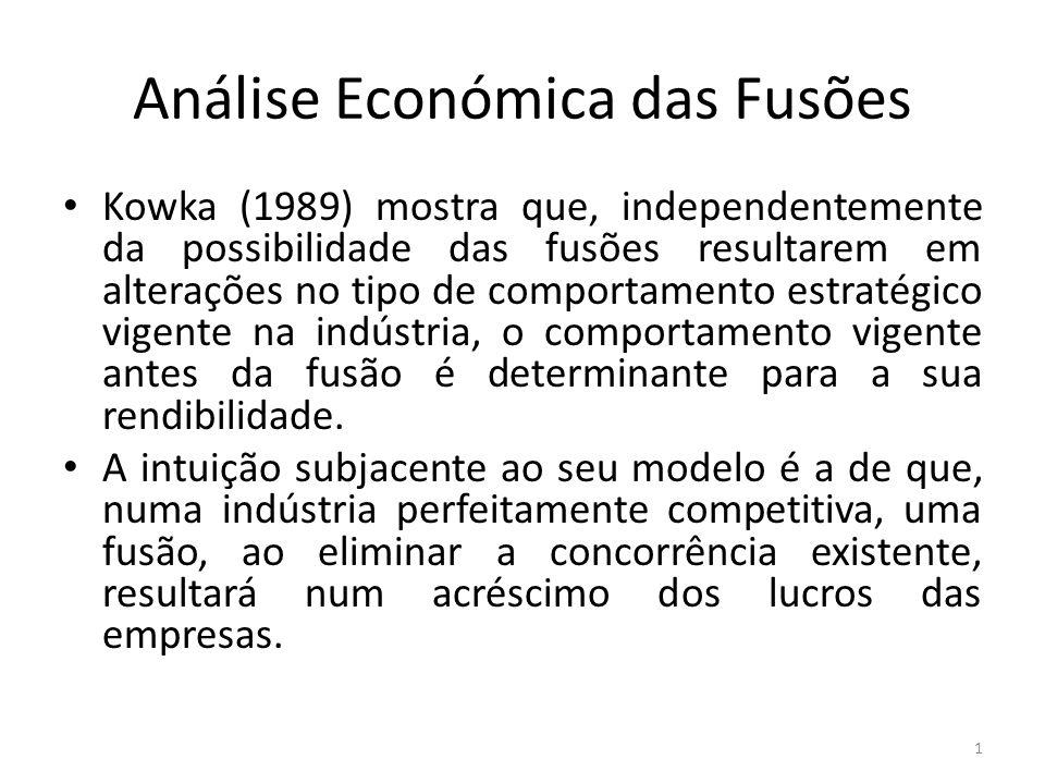 Análise Económica das Fusões Kowka (1989) mostra que, independentemente da possibilidade das fusões resultarem em alterações no tipo de comportamento estratégico vigente na indústria, o comportamento vigente antes da fusão é determinante para a sua rendibilidade.