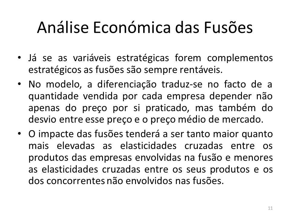 Análise Económica das Fusões Já se as variáveis estratégicas forem complementos estratégicos as fusões são sempre rentáveis.