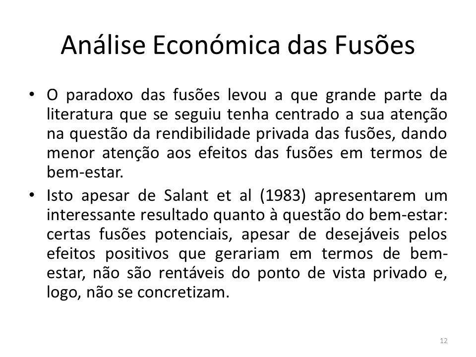 Análise Económica das Fusões O paradoxo das fusões levou a que grande parte da literatura que se seguiu tenha centrado a sua atenção na questão da rendibilidade privada das fusões, dando menor atenção aos efeitos das fusões em termos de bem-estar.