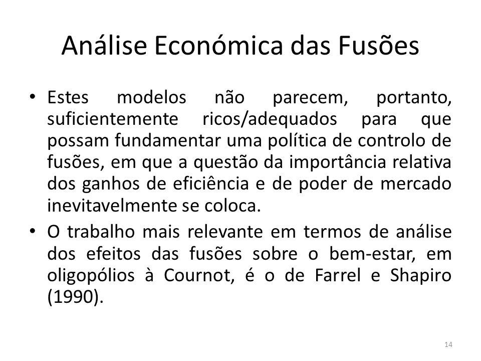 Análise Económica das Fusões Estes modelos não parecem, portanto, suficientemente ricos/adequados para que possam fundamentar uma política de controlo
