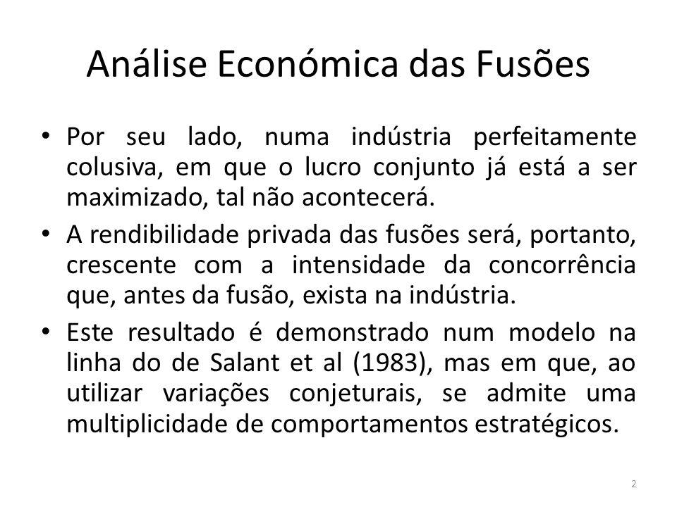 Análise Económica das Fusões Por seu lado, numa indústria perfeitamente colusiva, em que o lucro conjunto já está a ser maximizado, tal não acontecerá