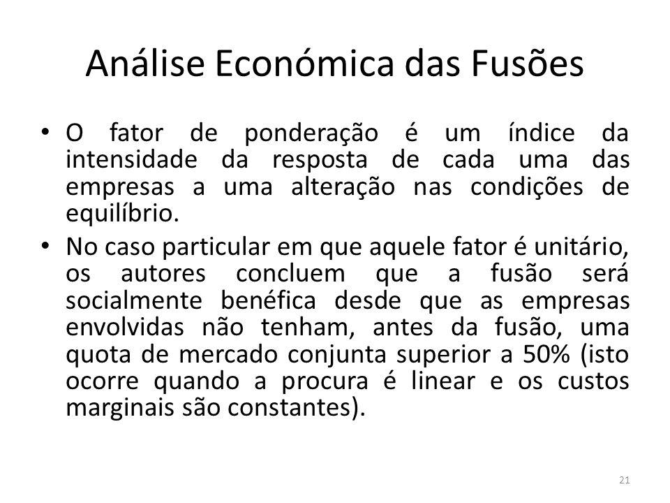 Análise Económica das Fusões O fator de ponderação é um índice da intensidade da resposta de cada uma das empresas a uma alteração nas condições de equilíbrio.