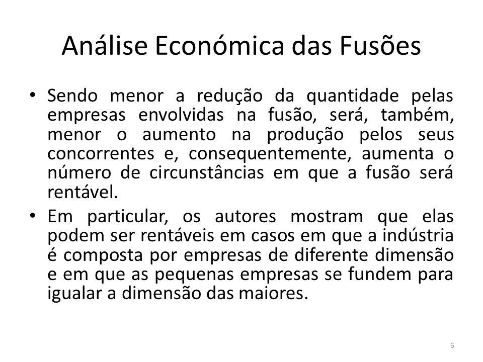 Análise Económica das Fusões Sendo menor a redução da quantidade pelas empresas envolvidas na fusão, será, também, menor o aumento na produção pelos s