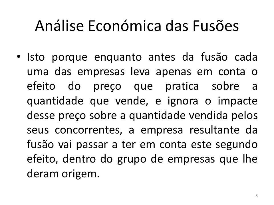 Análise Económica das Fusões Isto porque enquanto antes da fusão cada uma das empresas leva apenas em conta o efeito do preço que pratica sobre a quan