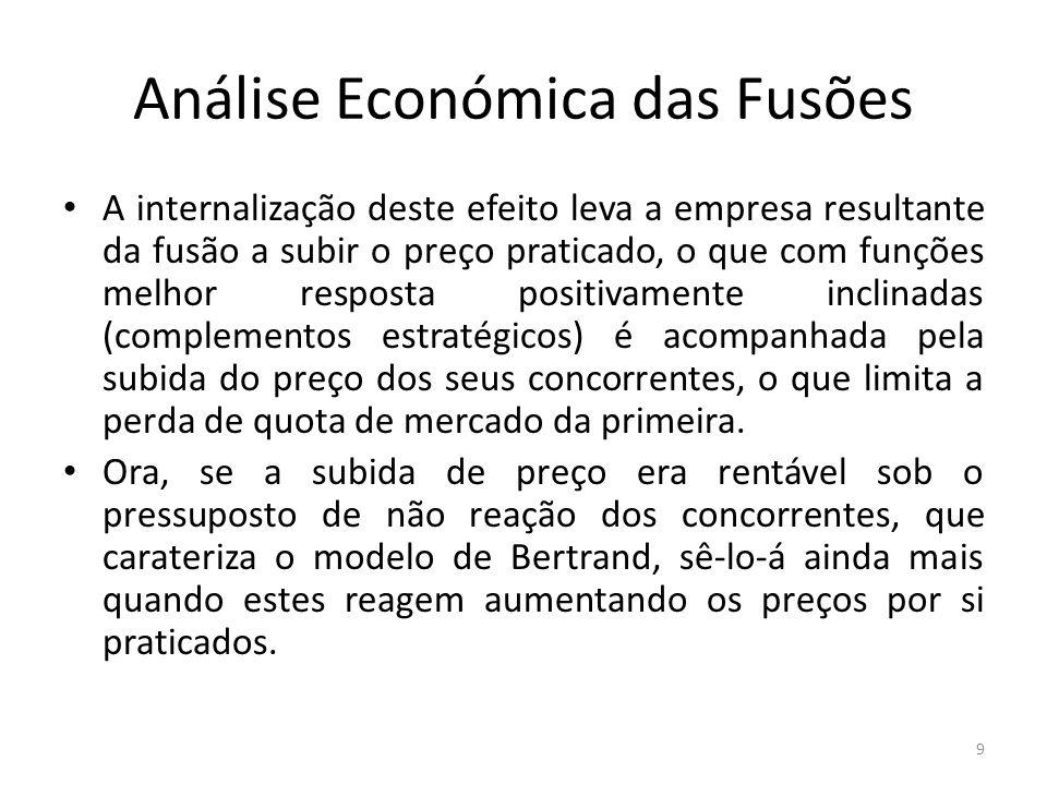 Análise Económica das Fusões A internalização deste efeito leva a empresa resultante da fusão a subir o preço praticado, o que com funções melhor resp