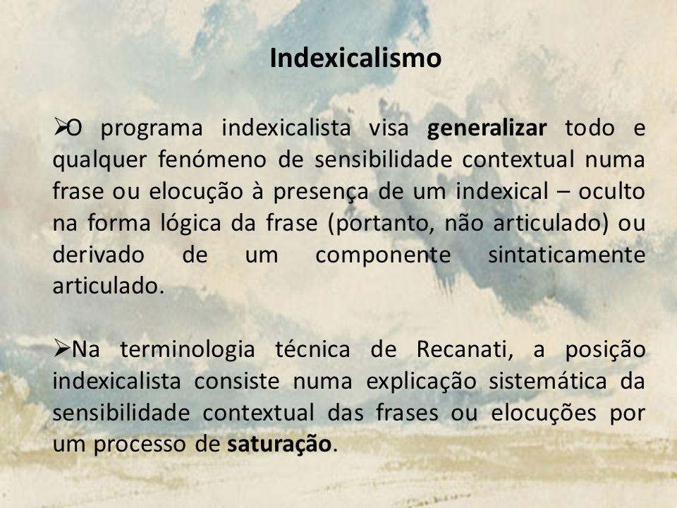 Indexicalismo O programa indexicalista visa generalizar todo e qualquer fenómeno de sensibilidade contextual numa frase ou elocução à presença de um i