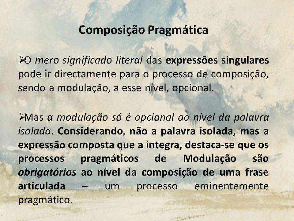 Composição Pragmática O mero significado literal das expressões singulares pode ir directamente para o processo de composição, sendo a modulação, a es
