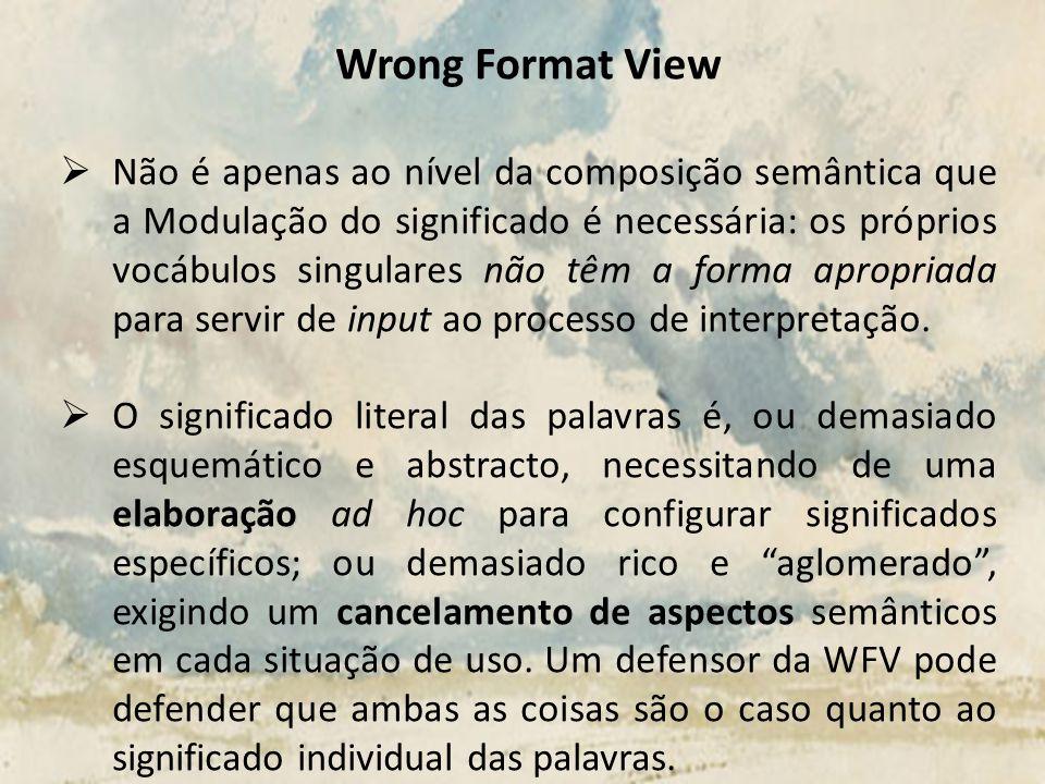 Wrong Format View Não é apenas ao nível da composição semântica que a Modulação do significado é necessária: os próprios vocábulos singulares não têm