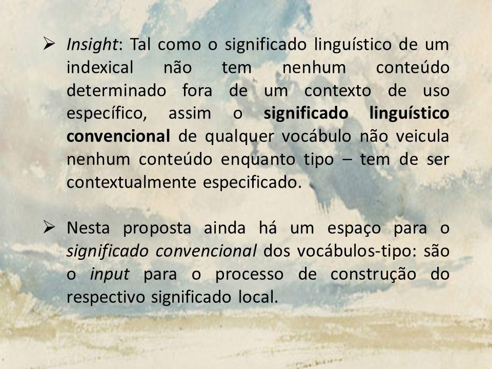 Insight: Tal como o significado linguístico de um indexical não tem nenhum conteúdo determinado fora de um contexto de uso específico, assim o signifi