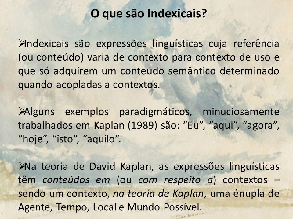 O que são Indexicais? Indexicais são expressões linguísticas cuja referência (ou conteúdo) varia de contexto para contexto de uso e que só adquirem um