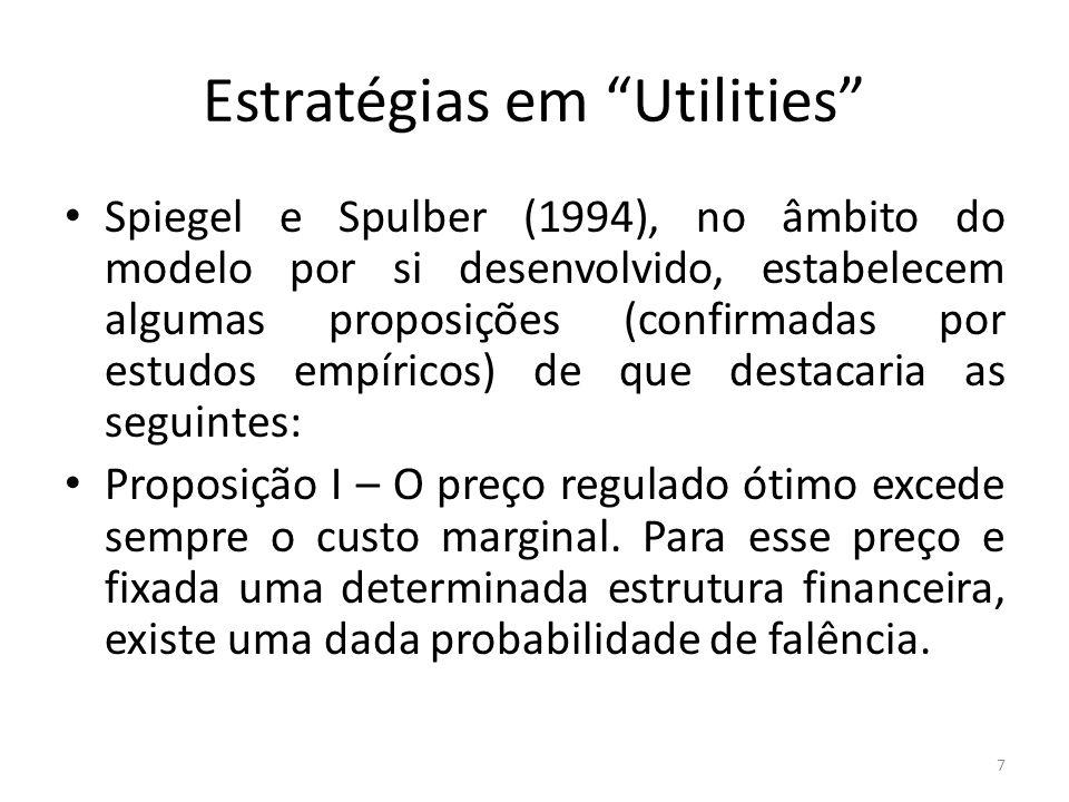 Estratégias em Utilities Proposição II – Em determinadas condições, o preço regulado ótimo aumenta quando a qualidade da dívida da empresa apresenta deterioração.