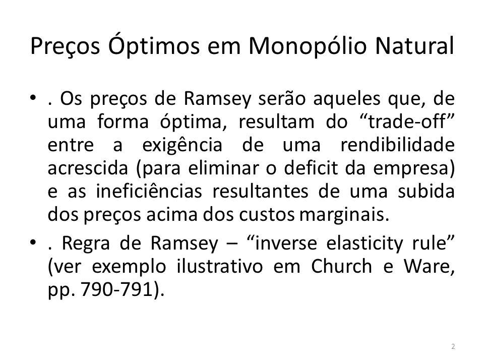 Preços Óptimos em Monopólio Natural. Os preços de Ramsey serão aqueles que, de uma forma óptima, resultam do trade-off entre a exigência de uma rendib