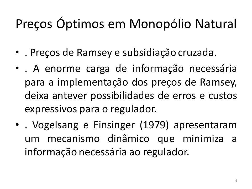 Preços Óptimos em Monopólio Natural. Preços de Ramsey e subsidiação cruzada.. A enorme carga de informação necessária para a implementação dos preços