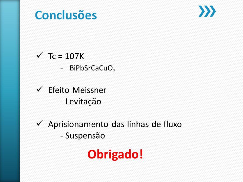 Conclusões Tc = 107K - BiPbSrCaCuO 2 Efeito Meissner - Levitação Aprisionamento das linhas de fluxo - Suspensão Obrigado!