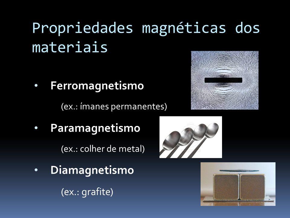 Propriedades magnéticas dos materiais Ferromagnetismo (ex.: ímanes permanentes) Paramagnetismo (ex.: colher de metal) Diamagnetismo (ex.: grafite)