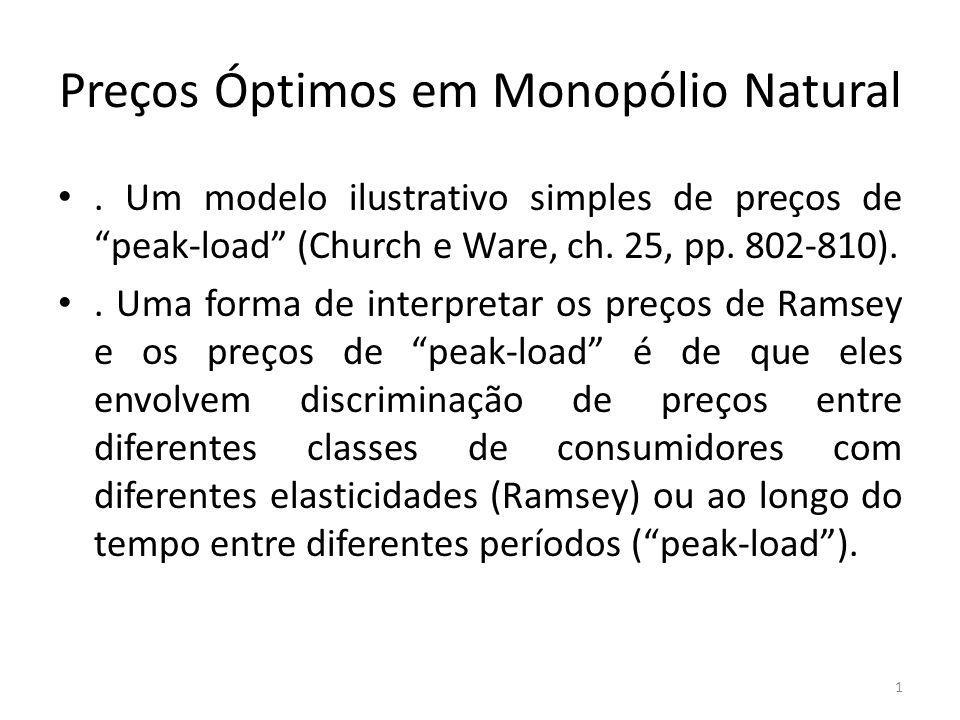 Preços Óptimos em Monopólio Natural. Um modelo ilustrativo simples de preços de peak-load (Church e Ware, ch. 25, pp. 802-810).. Uma forma de interpre