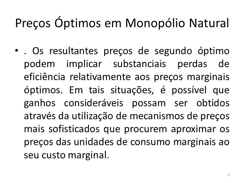 Preços Óptimos em Monopólio Natural. Os resultantes preços de segundo óptimo podem implicar substanciais perdas de eficiência relativamente aos preços