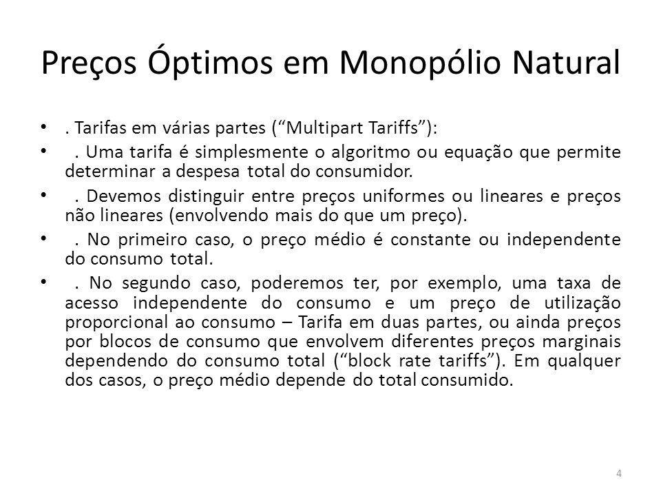 Preços Óptimos em Monopólio Natural. Tarifas em várias partes (Multipart Tariffs):. Uma tarifa é simplesmente o algoritmo ou equação que permite deter