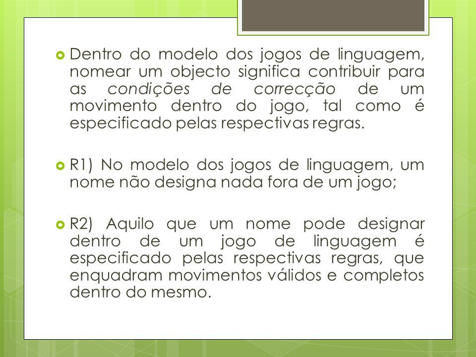 Dentro do modelo dos jogos de linguagem, nomear um objecto significa contribuir para as condições de correcção de um movimento dentro do jogo, tal com