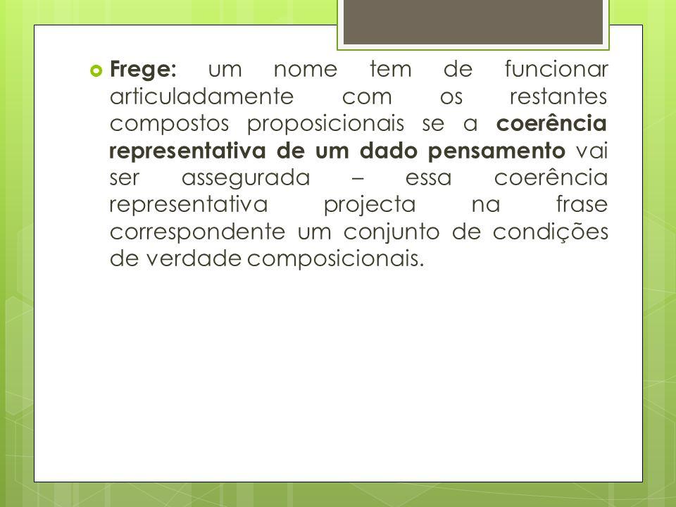 Frege: um nome tem de funcionar articuladamente com os restantes compostos proposicionais se a coerência representativa de um dado pensamento vai ser