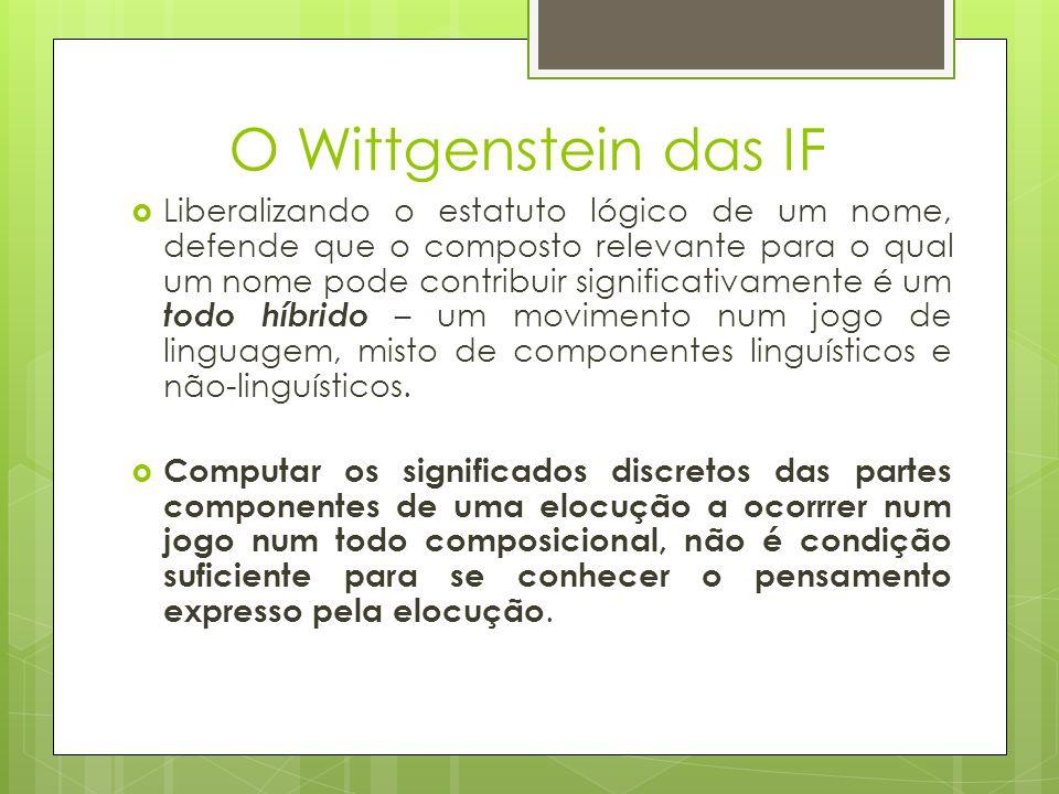 O Wittgenstein das IF Liberalizando o estatuto lógico de um nome, defende que o composto relevante para o qual um nome pode contribuir significativame