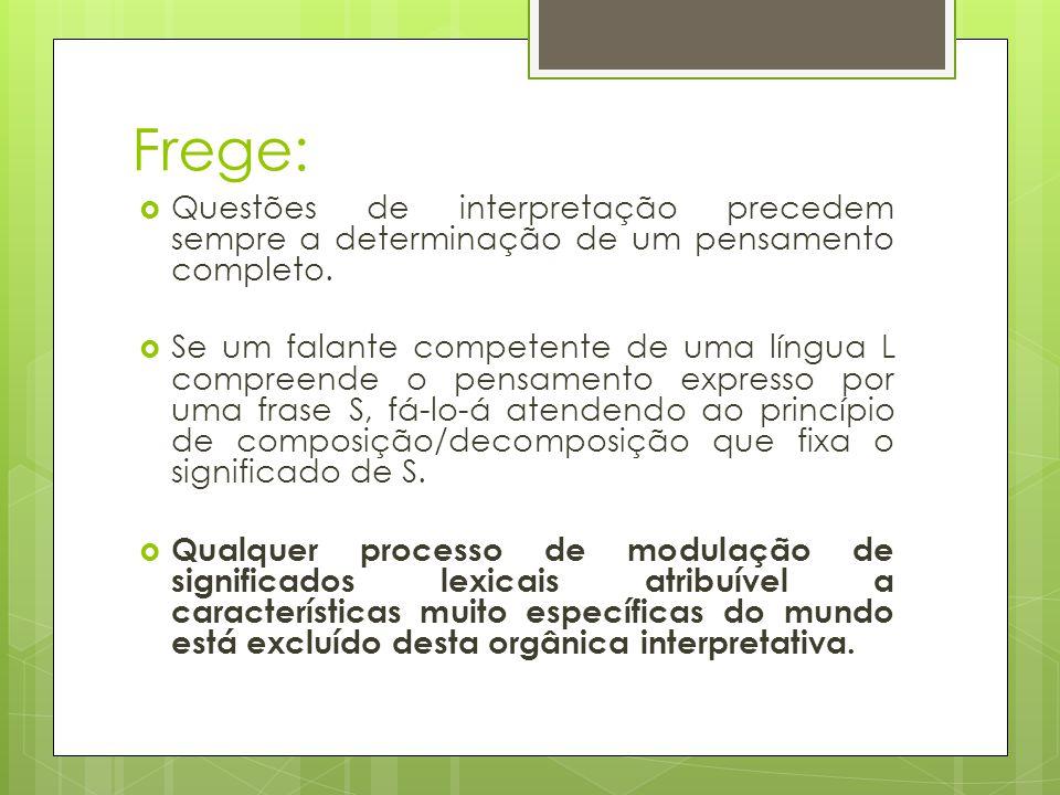 Frege: Questões de interpretação precedem sempre a determinação de um pensamento completo. Se um falante competente de uma língua L compreende o pensa