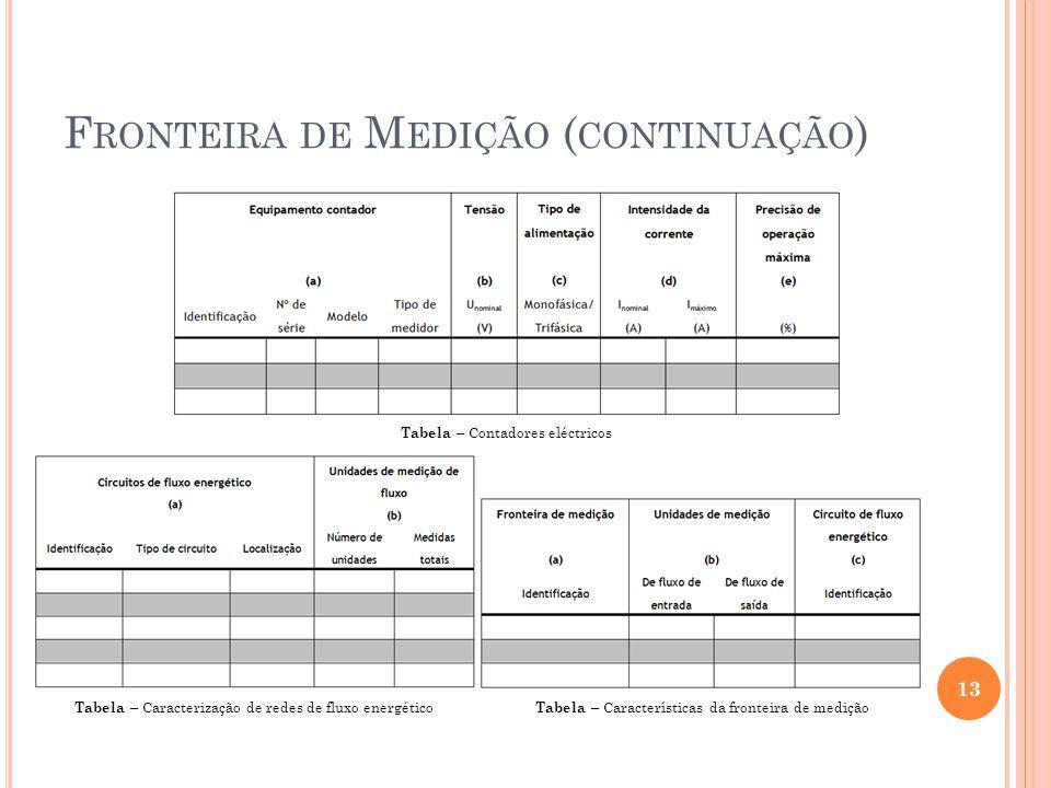 F RONTEIRA DE M EDIÇÃO ( CONTINUAÇÃO ) 13 Tabela – Contadores eléctricos Tabela – Caracterização de redes de fluxo energético Tabela – Características
