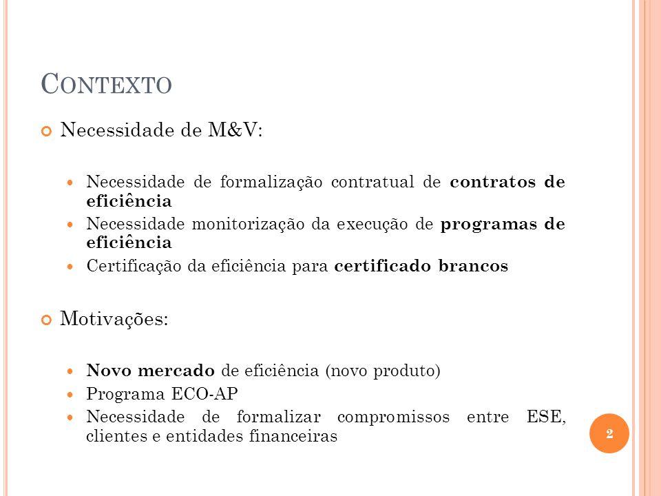 OBJECTIVO O desenvolvimento do Guia de Medição e Verificação (M&V) foi realizado com base no protocolo (seguindo os mesmos princípios): IPMVP – International Performance Measurement and Verification Protocol Objectivos específicos e inovação: Definir novas abordagens de M&V Definir estrutura de um Plano M&V Detalhar a forma e conteúdo do Plano M&V 3